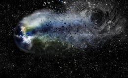 Black Hole Pulling Earth Illustration Stock Image