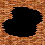 Black hole in red brick wall. stock illustration