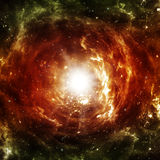 Black hole. Is shining bright red light in the distant cosmos Stock Image