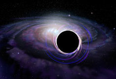 Black hole star in deep space, illustration Stock Photos