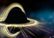 Black hole star in deep space. Physically accurate 3D illustration Stock Images