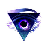 Black hole with starry vortex. Graphic eye with black hole and starry vortex inside. Sacred geometry. Abstract astornomy illustration with triangular design Stock Images