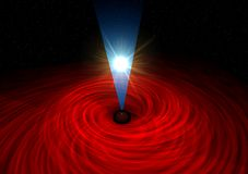 Black hole swallowing a star. Black hole swallowing sun on black background royalty free illustration