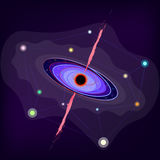 Black hole. Vector violet black hole in the universe Stock Photos