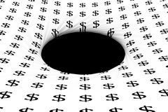 Black hole in which the dollar falls Royalty Free Stock Images
