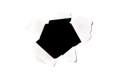 Black hole on white paper Stock Photography
