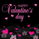 Black holiday background with pink hearts and flowers. Design for posters, cards or banners. Valentines day etc. Vector. Illustration Royalty Free Stock Photo