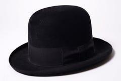 Homburg hat. Black Homburg Hat made of Fur Felt Stock Photo