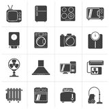 Black home appliances and electronics icons. Vector icon set stock illustration