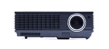 Black home cinema projector, isolated on white. Background royalty free stock images
