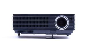 Black home cinema projector, isolated on white. Background royalty free stock photography
