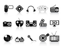 Black home entertainment icons set Royalty Free Stock Photo