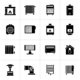 Black Home Heating appliances icons. Vector icon set vector illustration