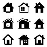 Black Home Icons. Isolated on white Royalty Free Stock Image