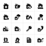 Black Home risk and insurance icons. Vector icon set royalty free illustration