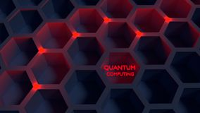 Black honeycomb net with red glowing nodes quantom computing con. Cept 3D illustration Stock Images