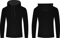 Black hoodie front and back view Stock Photo