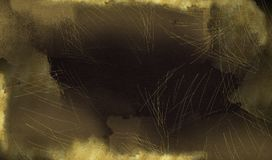 Black horizontal background with gold scuffs and spots. Template for greeting cards, logos, posters, blogs, website. Black background with gold scuffs and spots stock illustration