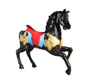 Black horse. Carousel black horse on a white background Stock Images