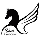 Black horse. Icon with wing - illustration Stock Image