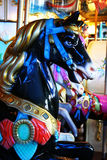 Black horse carousel. Close up Royalty Free Stock Images