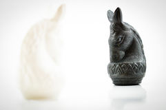 Black horse chess face white horse chess on white backgroud Royalty Free Stock Photography