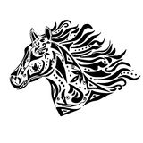 Black horse coloring or tattoo in circus style Stock Photo