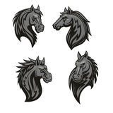 Black horse head mascot with tribal ornament Royalty Free Stock Image