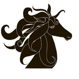 Black horse head silhouette with lush mane Royalty Free Stock Photo