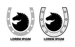 Black horse head on horseshoe. Black horse on horseshoe suitable for team identity, sport club logo and mascot, insignia, embellishment, artwork element stock illustration