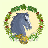 Black horse hunting theme vector Stock Image