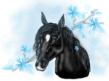 Black horse illustration with blue flowers. Illustration of black horse head with long mane decorated with light blue flowers Vector Illustration