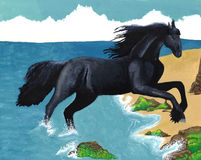 Black Horse Ocean Painting Royalty Free Stock Photos