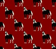 Black Horse on Red Cartoon Background. Vector Illustration. Black Horse on Red Cartoon Background. Vector Illustration vector illustration