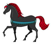 Black horse with red mane Royalty Free Stock Images