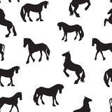 Black Horse Silhouette Seamless Pattern Vector Illustration Stock Images