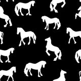 Black Horse Silhouette Seamless Pattern Vector Illustration Stock Image