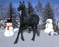 Black horse and two snowmen. In the forest of Christmas trees Stock Images
