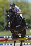 Black Horse Woman Jump Royalty Free Stock Image