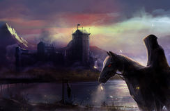 Black horseman castle. Fantasy black horse rider with background castle view illustration Stock Photography