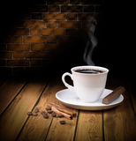 Black hot coffee cup with chocolate Royalty Free Stock Images
