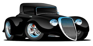 Black Hot Rod Classic Coupe Custom Car Cartoon Vector Illustration. Hot looking vintage 1933 style street rod high-boy coupe custom car cartoon with big tires royalty free illustration