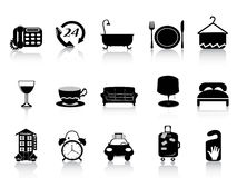Black hotel icons Royalty Free Stock Image