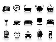 Black hotel icons Royalty Free Stock Image