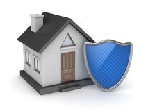 Black house and blue shield Royalty Free Stock Image