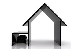Black house and car illustration Stock Photography