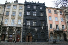 Black House, Lviv. Black House. One of the most famous buildings of the square and one of the most beautiful examples of renaissance architecture in Lviv. It was Stock Photo