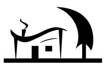 Black house silhouette vector with tree garden Stock Photos