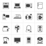 Black household appliances and electronics icons. Vector, icon set vector illustration