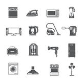 Black Household Appliances Icons Set Stock Photography